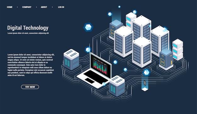 Sala server isometrica e concetto di elaborazione di grandi quantità di dati, centro dati e icona della base di dati