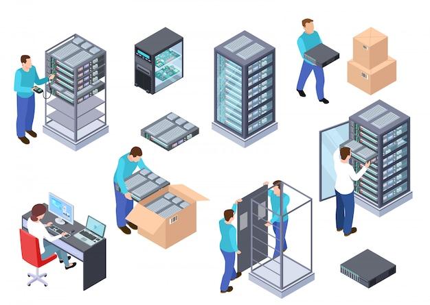 Sala server isometrica. ingegnere informatico server, server cloud di telecomunicazione, set di computer e dipendenti