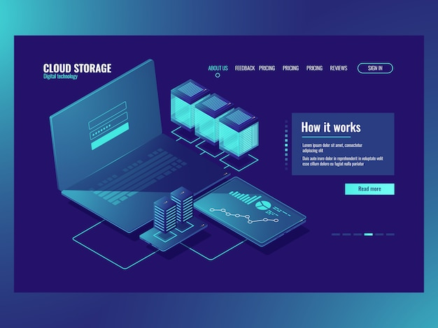 Sala server, operazioni con dati, connessione di rete, tecnologia di archiviazione cloud
