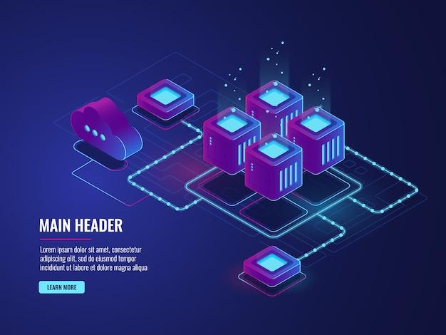 Sala server, tecnologia di archiviazione cloud, data center di trasmissione e scambio
