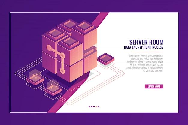 Sala server, trasmissione dati, datacenter e banner di database, concetto di sviluppo software, constr