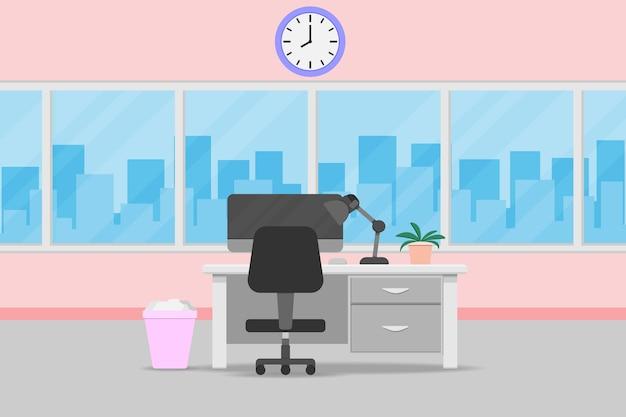 Sala ufficio interno con scrivania e finestra