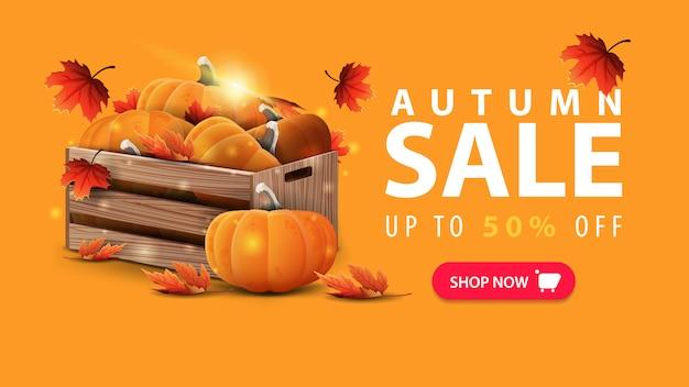 Saldi autunnali, sconto banner web arancione