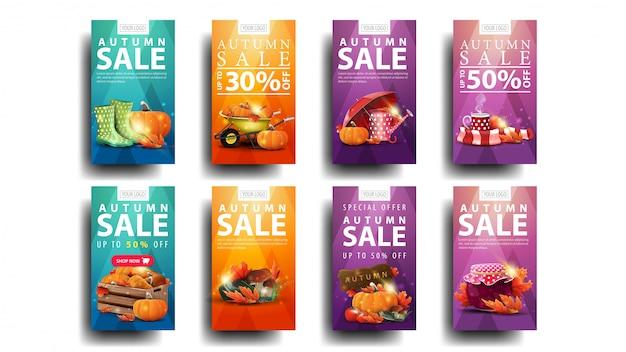 Saldi autunnali, set di banner sconto moderno con angoli arrotondati, pulsanti ed elementi autunnali. banner di sconto autunno verde, arancione, viola e rosa
