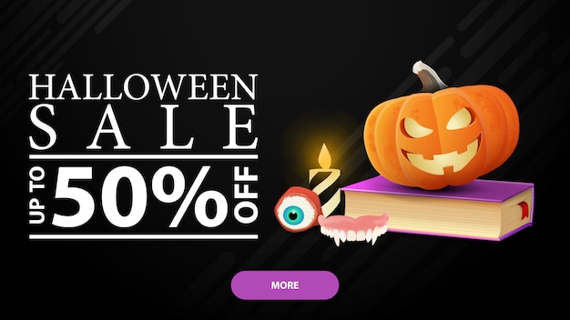 Saldi di halloween, -50% di sconto, banner sconto orizzontale nero con libro degli incantesimi e zucca jack