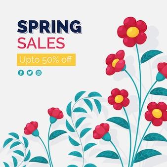 Saldi di primavera con fiori colorati
