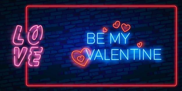 Saldi di san valentino. insegna luminosa al neon