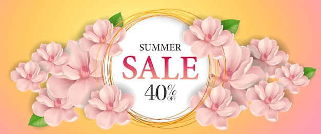 Saldi estivi a quaranta per cento di sconto. iscrizione creativa in cerchio con fiore rosa