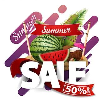 Saldi estivi, banner di sconto moderno per il tuo business con anguria