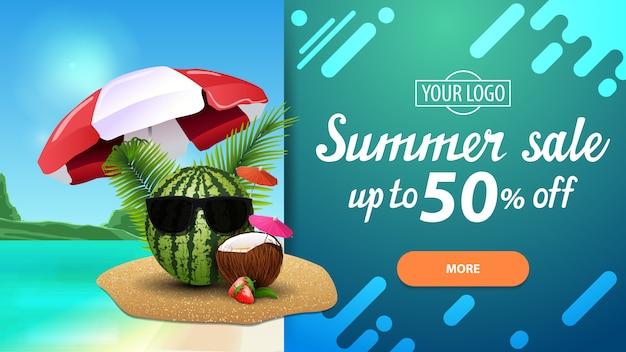 Saldi estivi, banner di sconto orizzontale con uno splendido scenario e design moderno