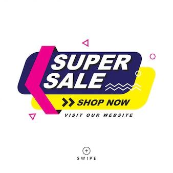 Saldi estivi, banner offerta speciale vendita mega