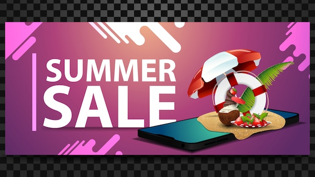 Saldi estivi, banner orizzontale di sconto con uno smartphone