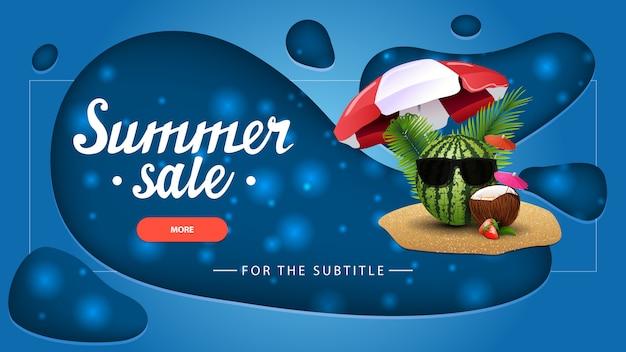 Saldi estivi, banner sconto blu con un design moderno per il tuo sito web