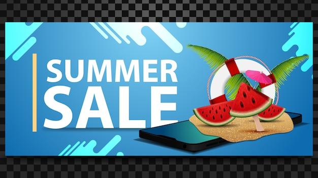 Saldi estivi, banner sconto orizzontale con design moderno e smartphone