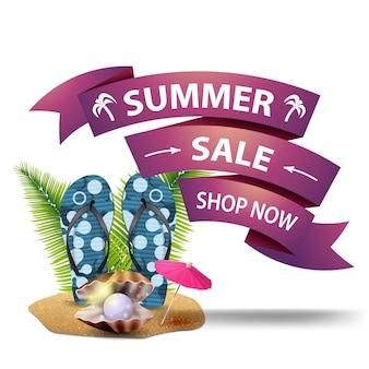 Saldi estivi, banner web a prezzi scontati sotto forma di nastri