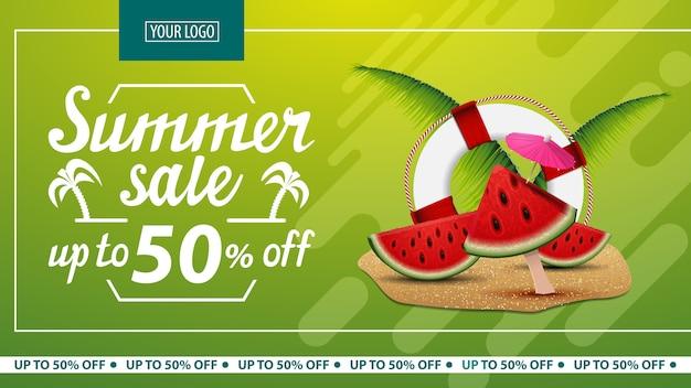 Saldi estivi, banner web di sconto orizzontale per il tuo sito web