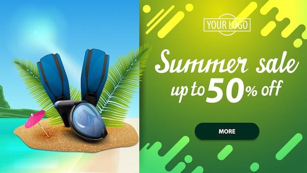 Saldi estivi, banner web di sconto per il tuo sito web con un bel panorama marino