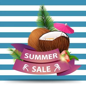 Saldi estivi, banner web di sconto sotto forma di nastri per il tuo business