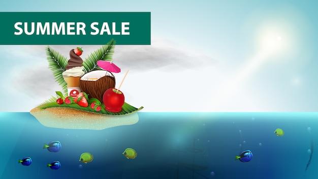 Saldi estivi, banner web orizzontale mare con cocktail di cocco