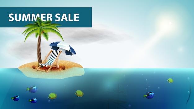 Saldi estivi, banner web orizzontale mare con palme e sdraio