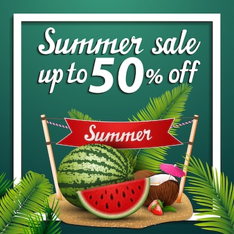Saldi estivi, banner web quadrato di sconto con anguria