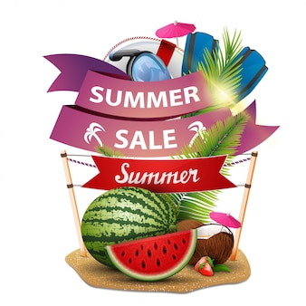 Saldi estivi, banner web sconto sotto forma di nastri