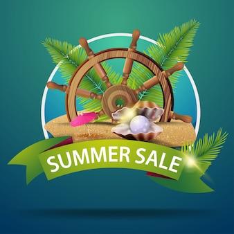 Saldi estivi, banner web tondo per la tua pubblicità con volante