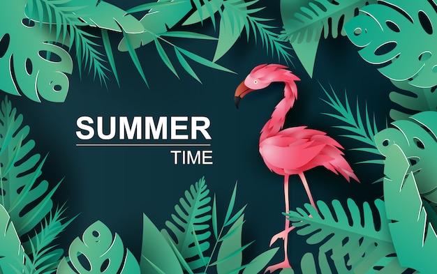 Saldi estivi con fenicotteri tropicali