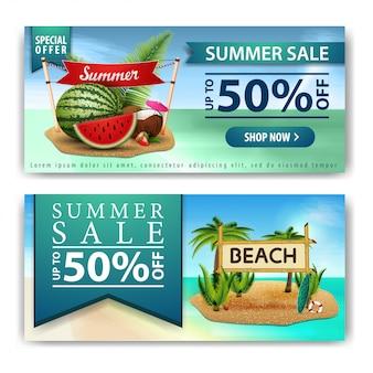 Saldi estivi, due banner orizzontali di sconto per la tua attività