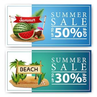 Saldi estivi, due banner web di sconto