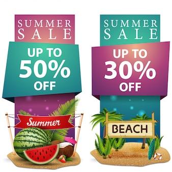 Saldi estivi, due modelli di banner verticale di sconto