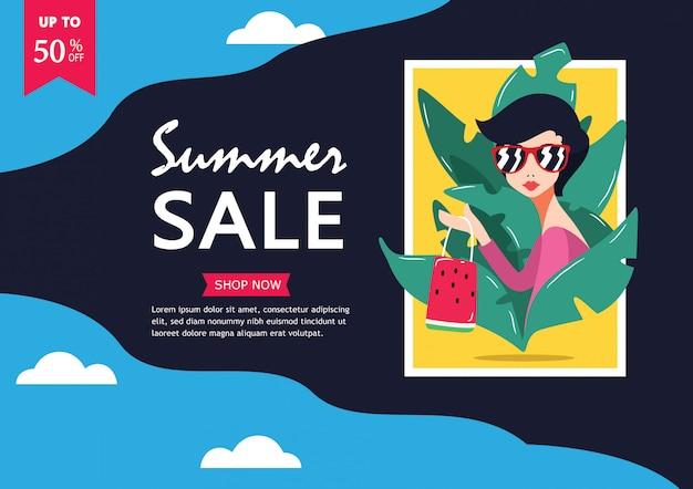 Saldi estivi. fino al 50% di sconto su big sale side banner