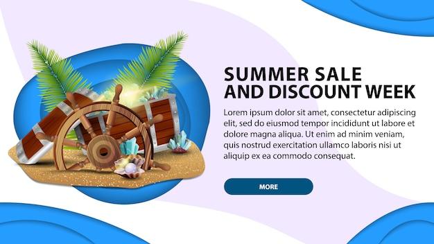 Saldi estivi la settimana degli sconti, banner web di oggi in stile taglio carta