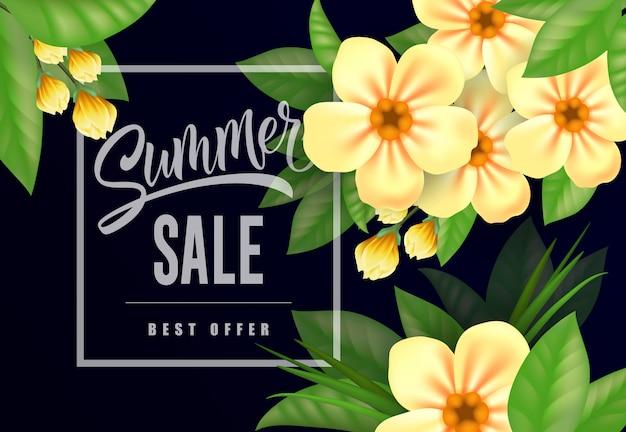 Saldi estivi migliore offerta scritta. iscrizione creativa con rami di fiori.