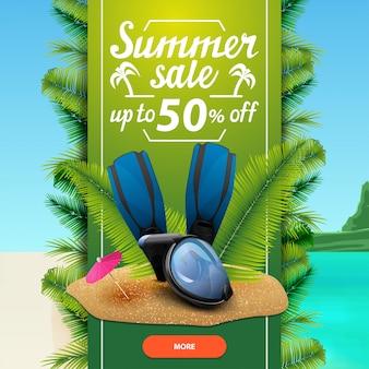 Saldi estivi, modello di banner web sconto quadrato per il tuo business