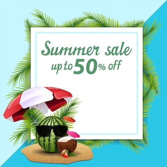 Saldi estivi, modello per banner sconto sotto forma di un foglio di carta decorato foglie di palma