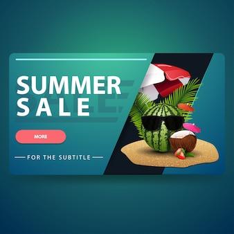 Saldi estivi, moderno banner web volumetrico 3d per il tuo sito web