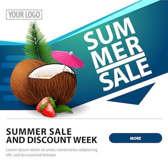 Saldi estivi, moderno modello di banner web quadrato elegante per la pubblicità e la promozione della tua attività