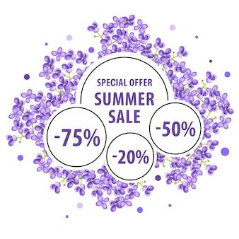 Saldi estivi, poster con offerta speciale con fiori lilla e adesivi sconto.