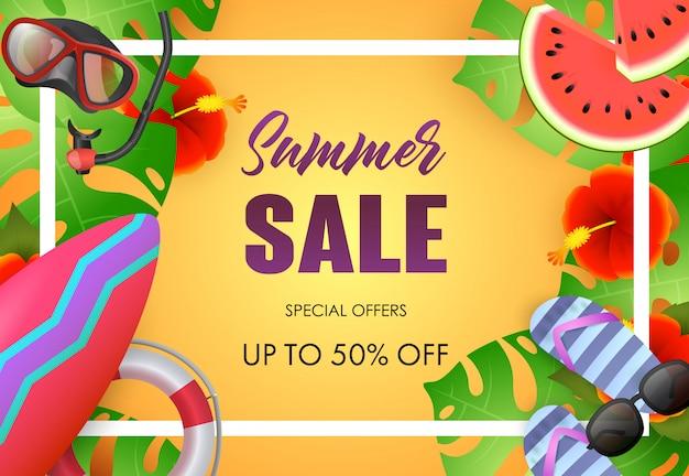 Saldi estivi poster design luminoso. occhiali da sole