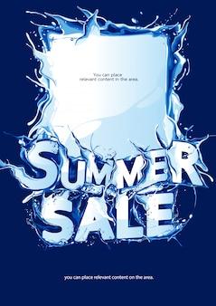 Saldi estivi poster verticale su sfondo blu scuro