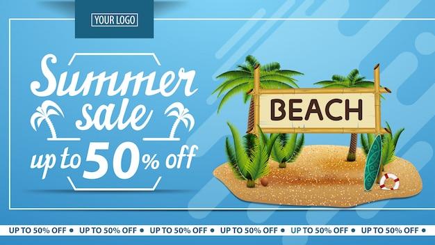 Saldi estivi, sconto banner web orizzontale per negozio online