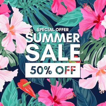 Saldi estivi sfondo colorato tropicale con foglie esotiche e fiori di ibisco.