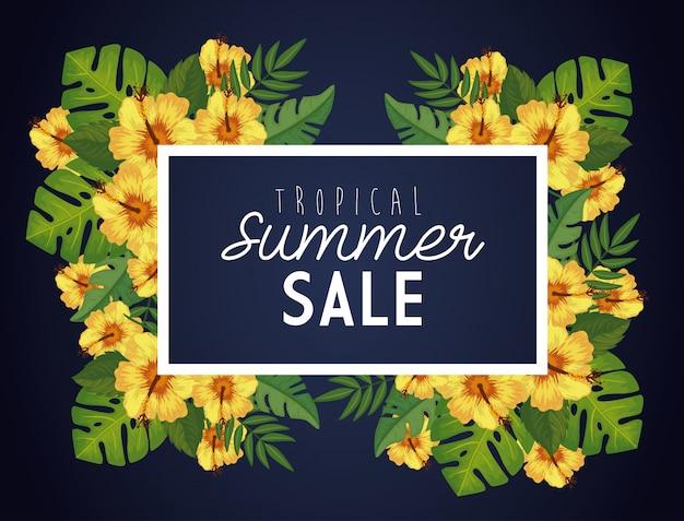 Saldi estivi tropicali con cornice e fiori