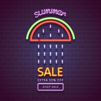 Saldi estivi. vendita estiva con effetto neon