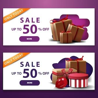 Saldi, fino al 50% di sconto, due banner sconto bianchi con scatole regalo