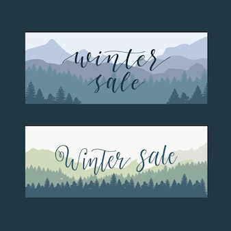 Saldi invernali design piatto banner