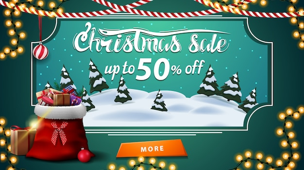 Saldi natalizi, fino al 50% di sconto, banner sconto verde con paesaggio invernale cartoon