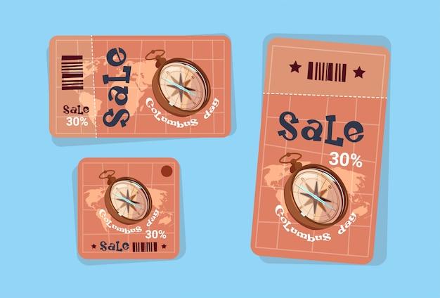 Saldi stagionali di columbus day tag di vendita shopping discount icons america scopri greeting card