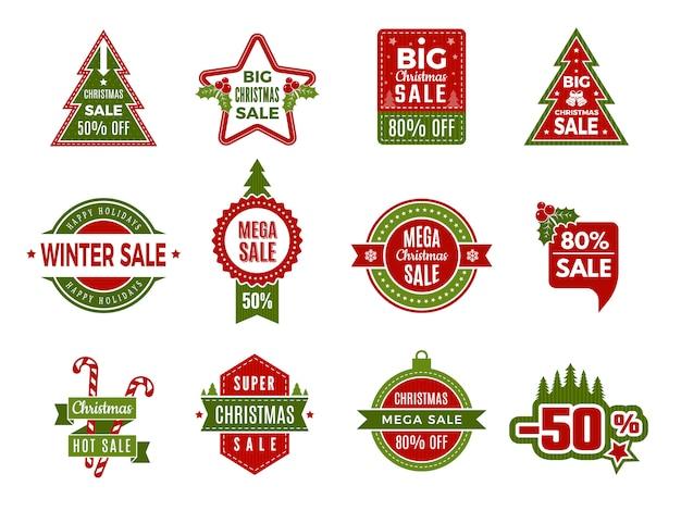 Saldi vacanze invernali. distintivi di natale o etichette sconti vendita al dettaglio offerte vacanze offerte speciali del modello di capodanno
